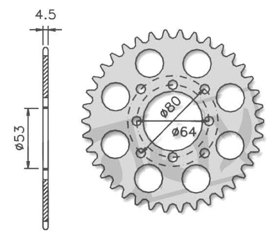 Kettenrad Ritzel 415, 38 Zähne für Derbi Variant / DS 50