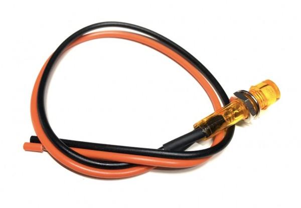 12V Kontrollleuchte Orange mit Kabel 8mm Gewinde für Zündapp Hercules Kreidler